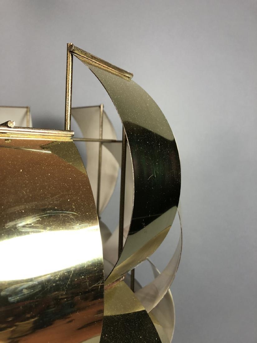 C JERE Style Bowed Brass Panel Modernist Chandeli - 7