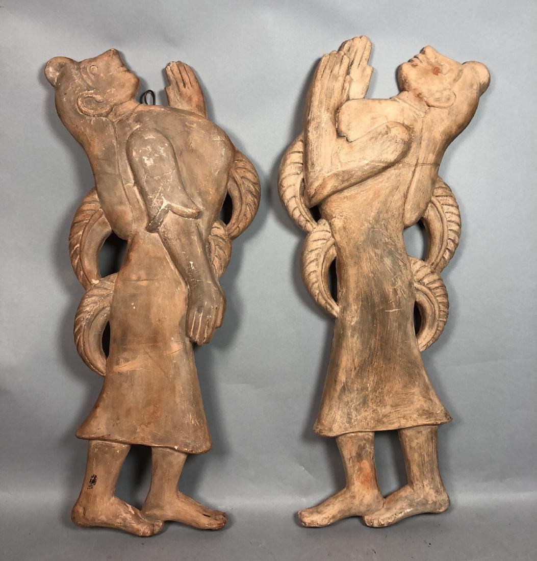 Pr Figural Weinberg Style Pottery Wall Sculpture