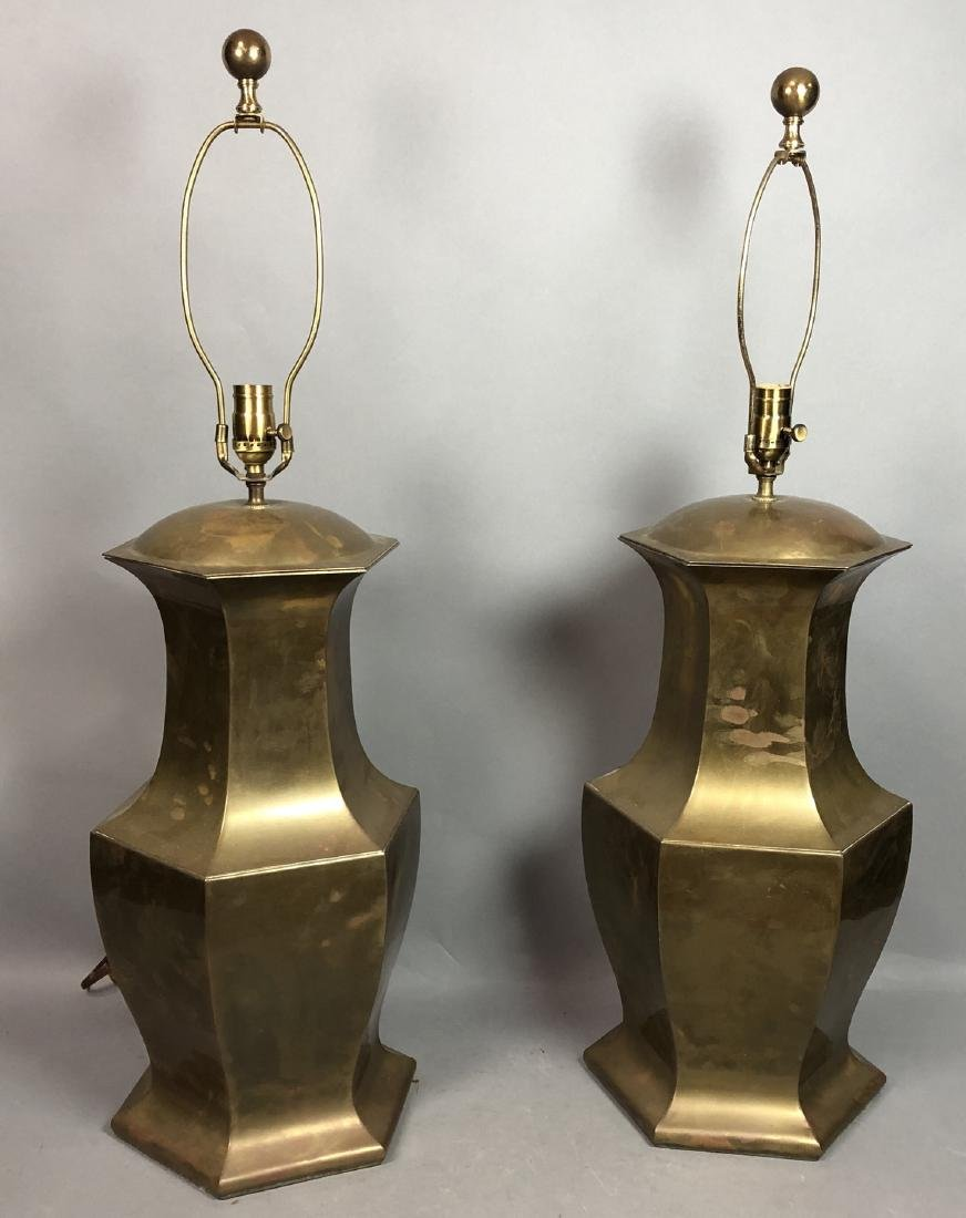 Pr Large Decorator Brass Lamps. Octagonal urn for