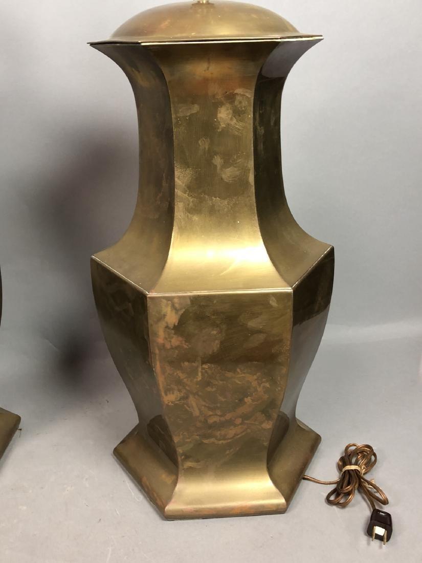 Pr Large Decorator Brass Lamps. Octagonal urn for - 7