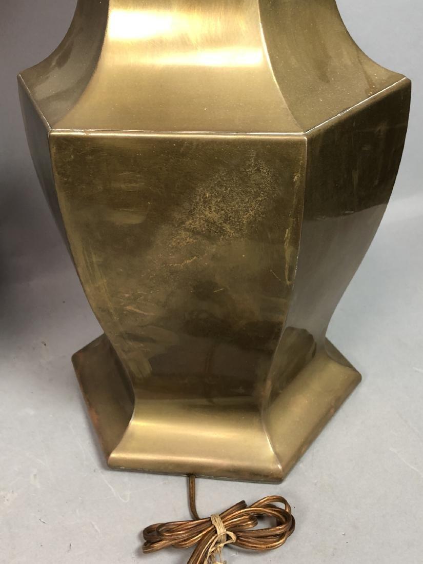 Pr Large Decorator Brass Lamps. Octagonal urn for - 8