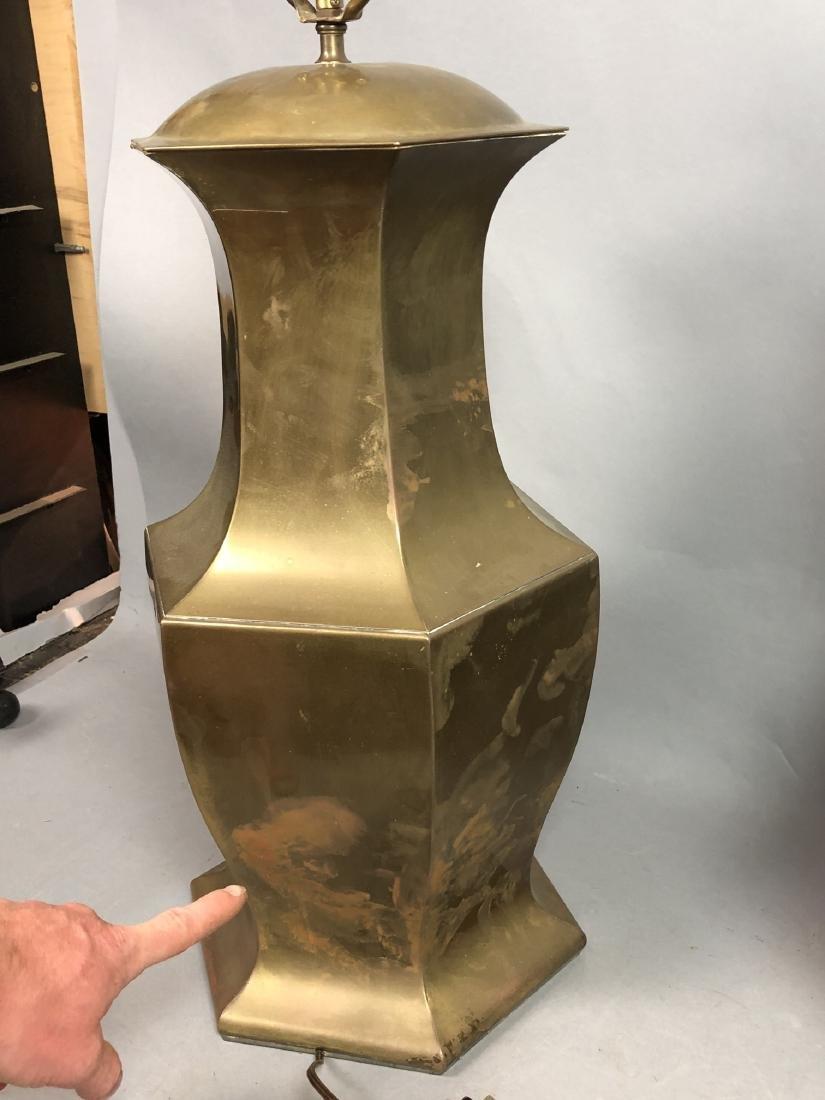 Pr Large Decorator Brass Lamps. Octagonal urn for - 9