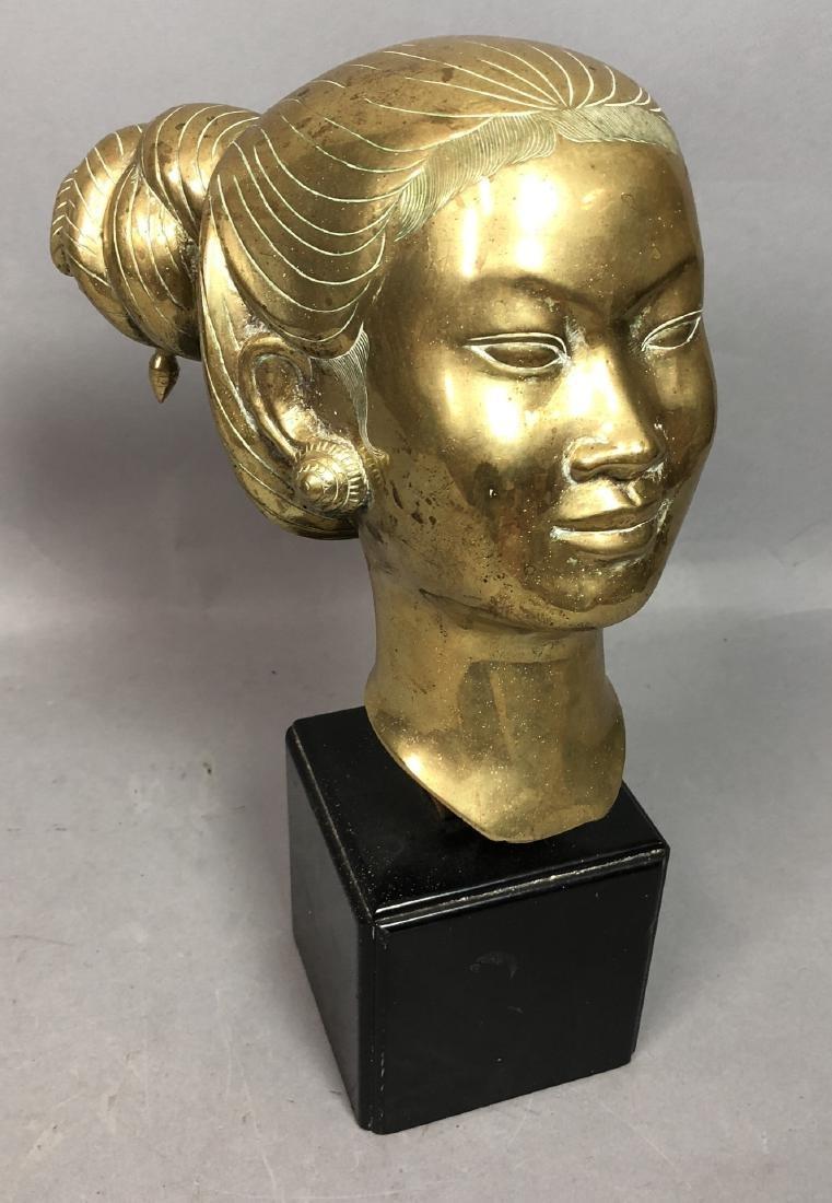 Heavy Brass Bust Asian Woman. Hair in chignon, sh