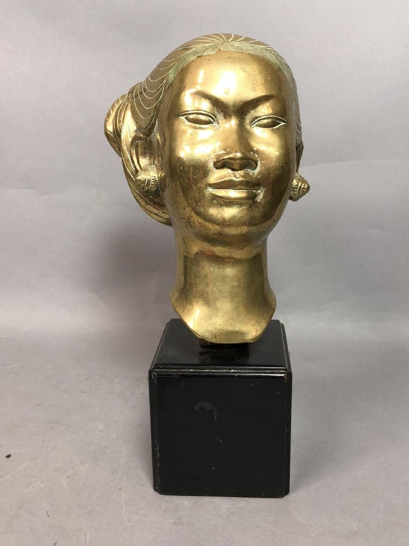 Heavy Brass Bust Asian Woman. Hair in chignon, sh - 2