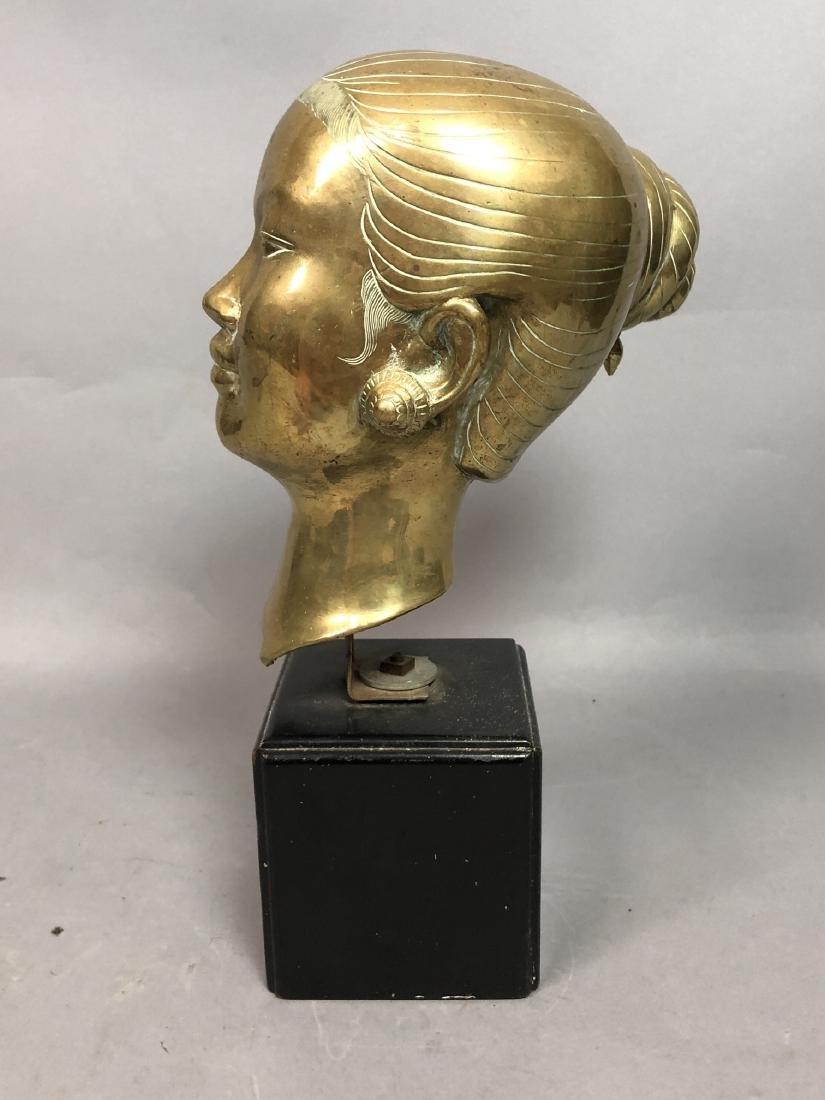 Heavy Brass Bust Asian Woman. Hair in chignon, sh - 3