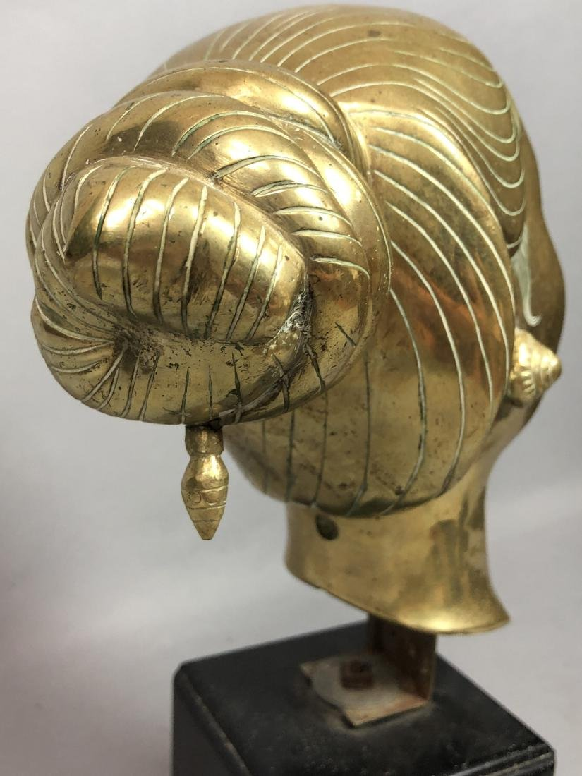 Heavy Brass Bust Asian Woman. Hair in chignon, sh - 7