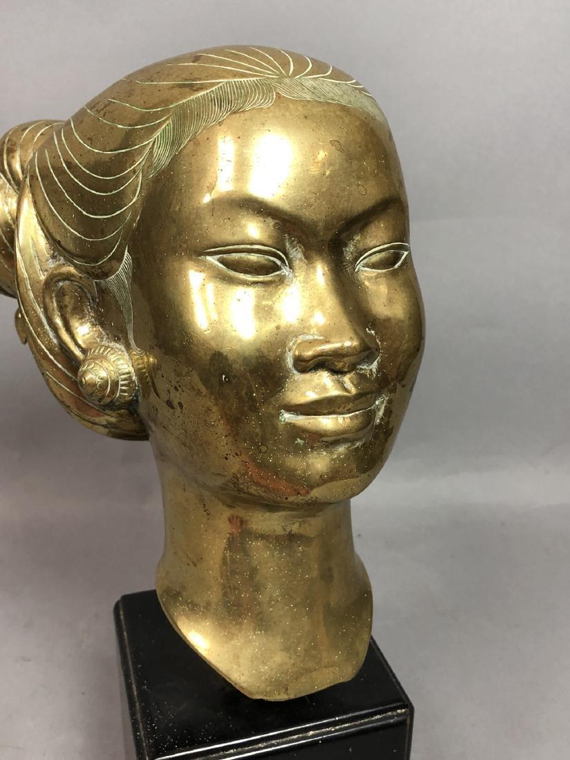 Heavy Brass Bust Asian Woman. Hair in chignon, sh - 8