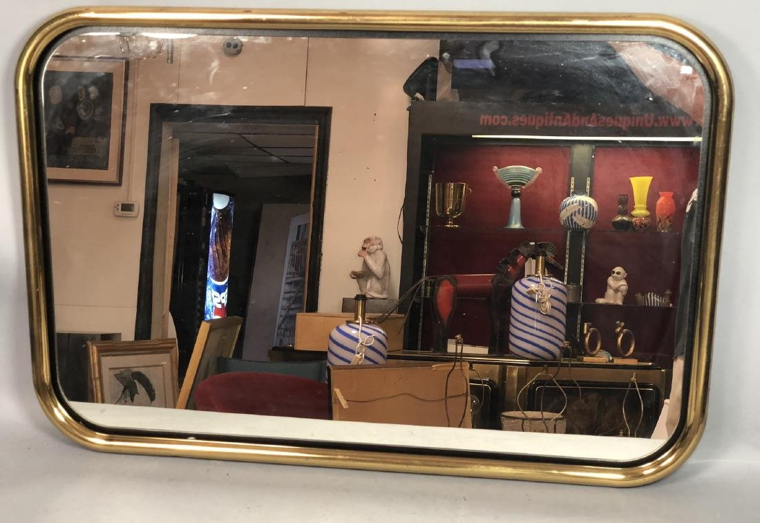 Brass Tube Wall Mirror. Mirrored panel on recesse