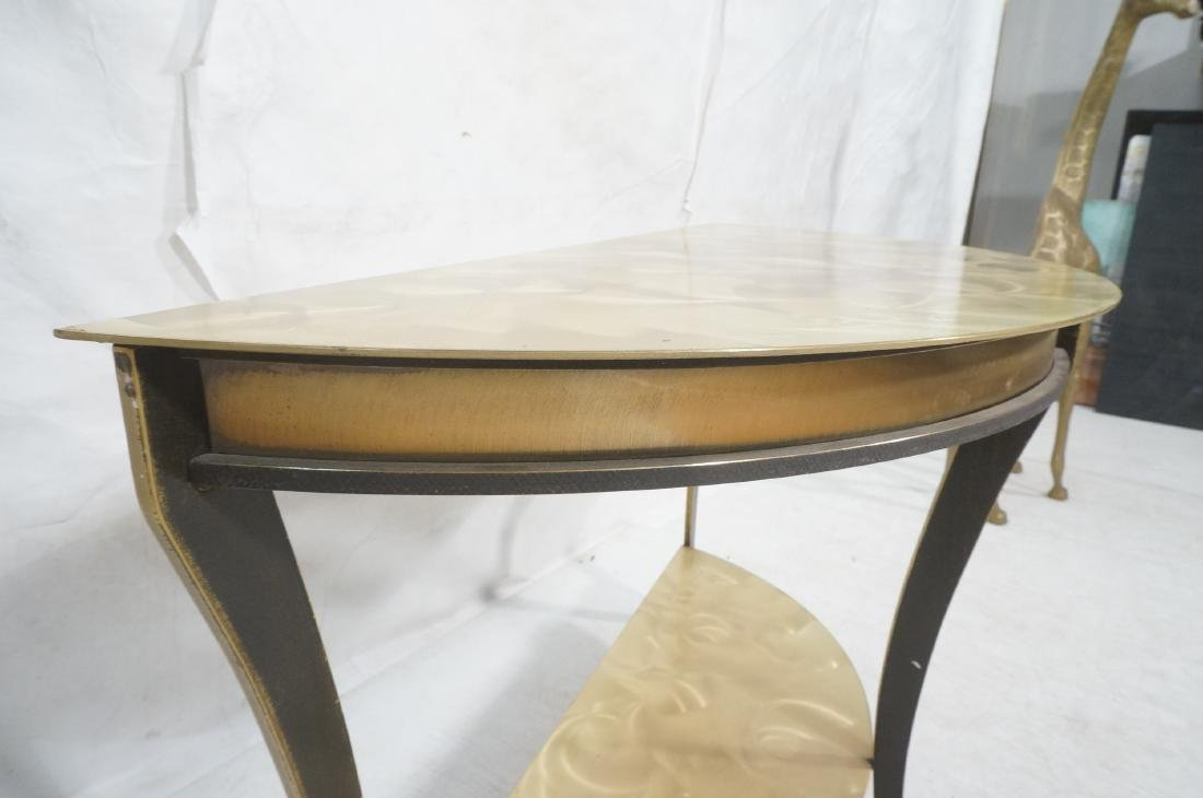 Brass & Stainless Demi Lune Hall Console Table. M - 10