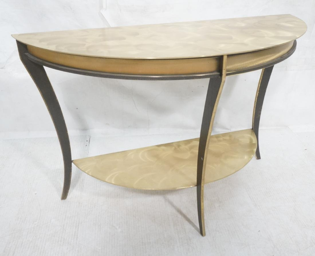 Brass & Stainless Demi Lune Hall Console Table. M