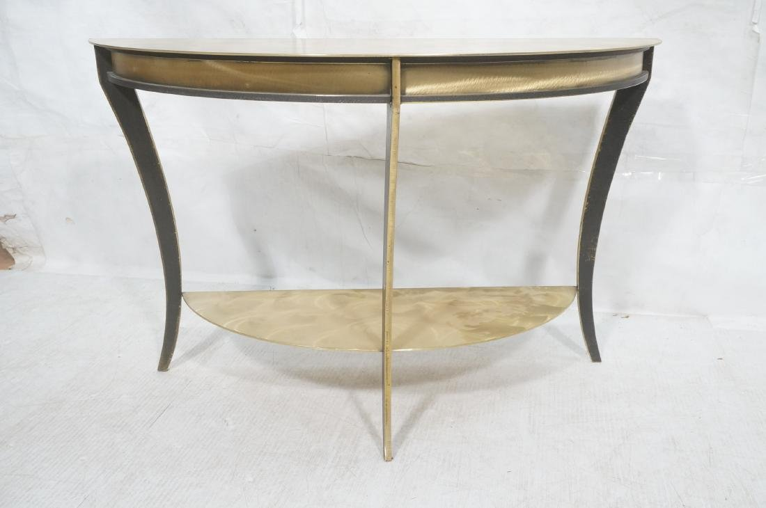 Brass & Stainless Demi Lune Hall Console Table. M - 2