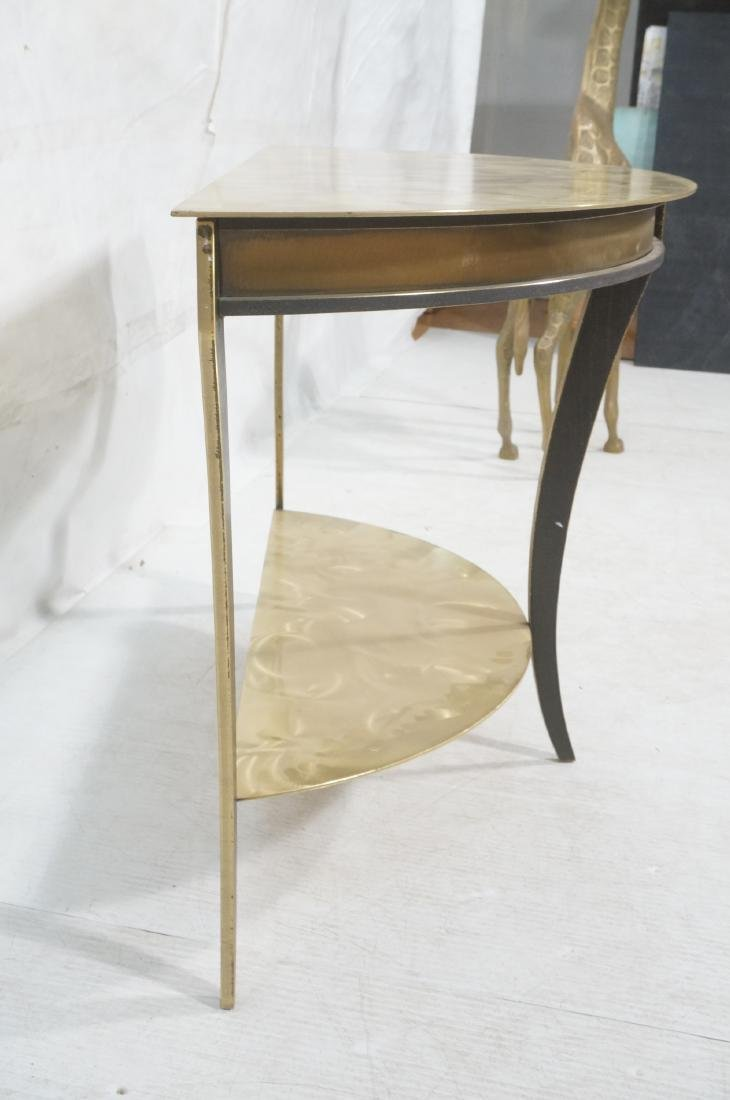 Brass & Stainless Demi Lune Hall Console Table. M - 3