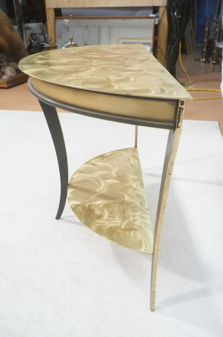 Brass & Stainless Demi Lune Hall Console Table. M - 5