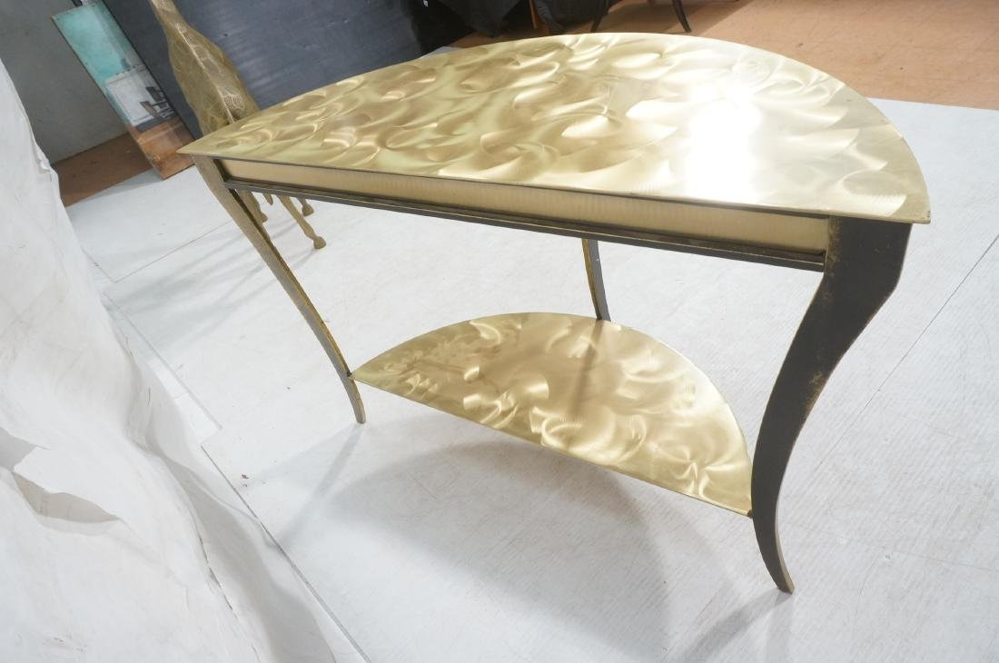 Brass & Stainless Demi Lune Hall Console Table. M - 6