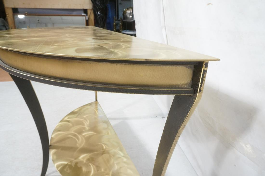 Brass & Stainless Demi Lune Hall Console Table. M - 8