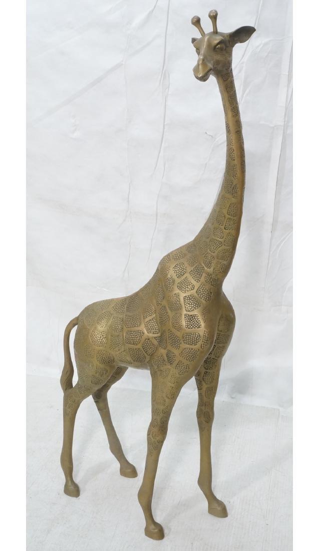 Large Figural Brass Giraffe Floor Sculpture. Text