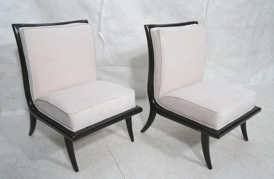 Pr Italian Style Ebonized Modernist Slipper Chair