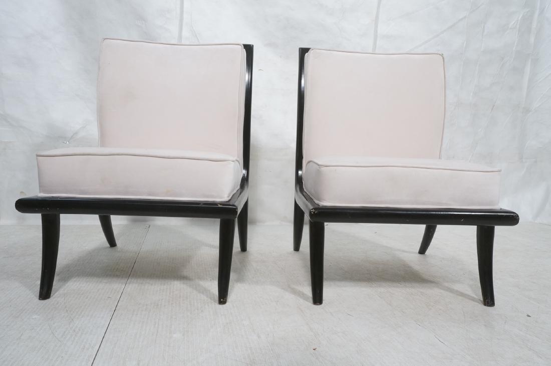 Pr Italian Style Ebonized Modernist Slipper Chair - 2