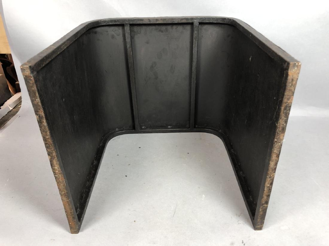 Dark Metal Modernist Bench Seat Stool. Iron stud - 6