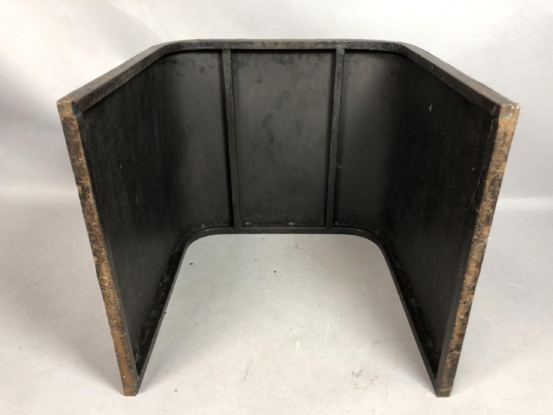 Dark Metal Modernist Bench Seat Stool. Iron stud - 7