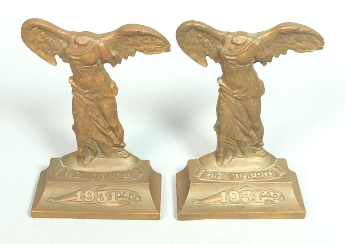 Pr 1931 Winged Nike Bronze Bookends. Marked Baile