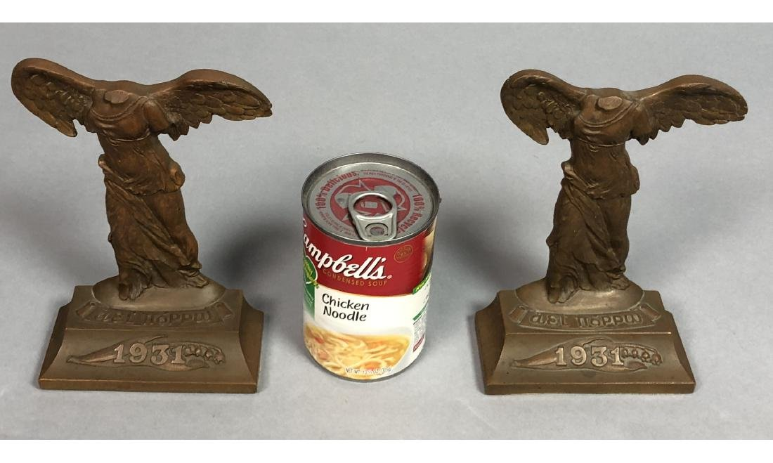 Pr 1931 Winged Nike Bronze Bookends. Marked Baile - 5