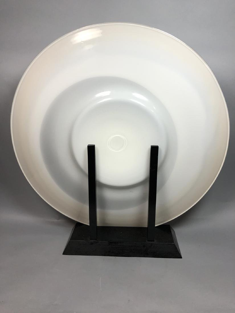 """34"""" dia. Art Glass Charger Sculpture. Marbled whi - 3"""