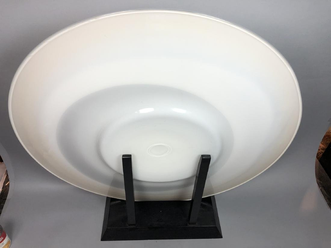 """34"""" dia. Art Glass Charger Sculpture. Marbled whi - 5"""