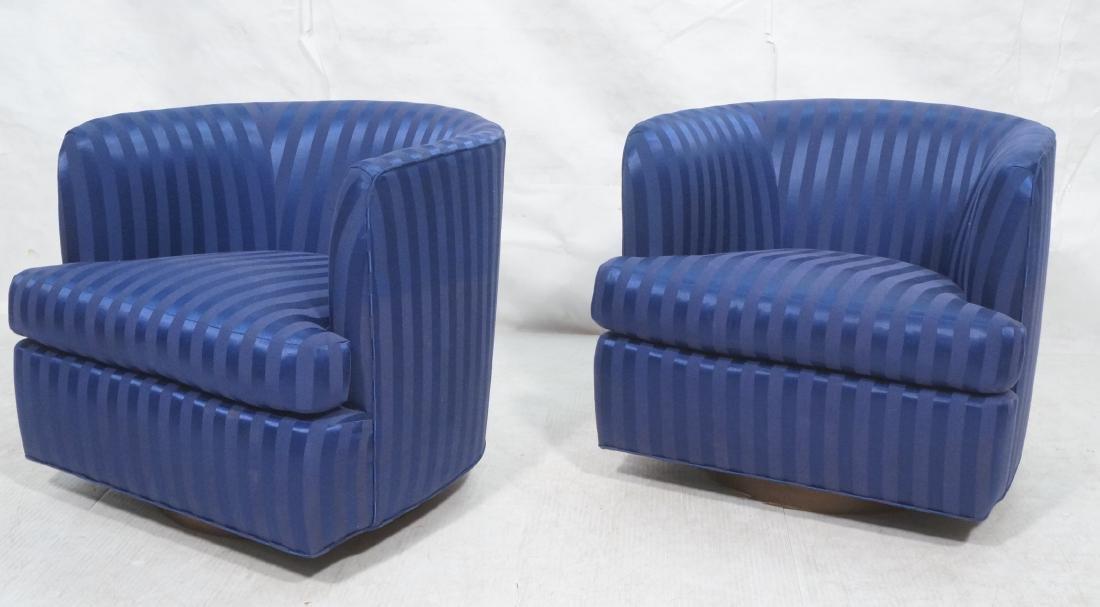 Pr MILO BAUGHMAN Swivel Rocking Lounge Chairs. Ne
