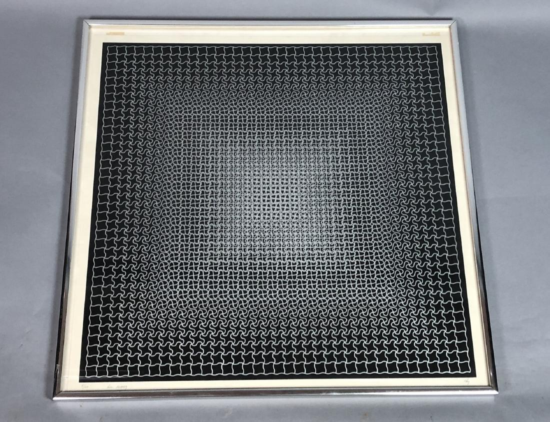 RAY Modernist Silk Screen Print. Silver linear pu