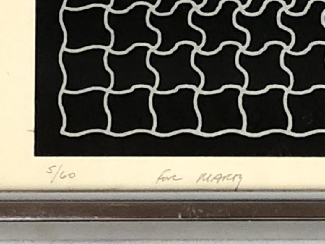 RAY Modernist Silk Screen Print. Silver linear pu - 6