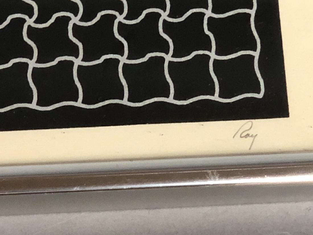 RAY Modernist Silk Screen Print. Silver linear pu - 7