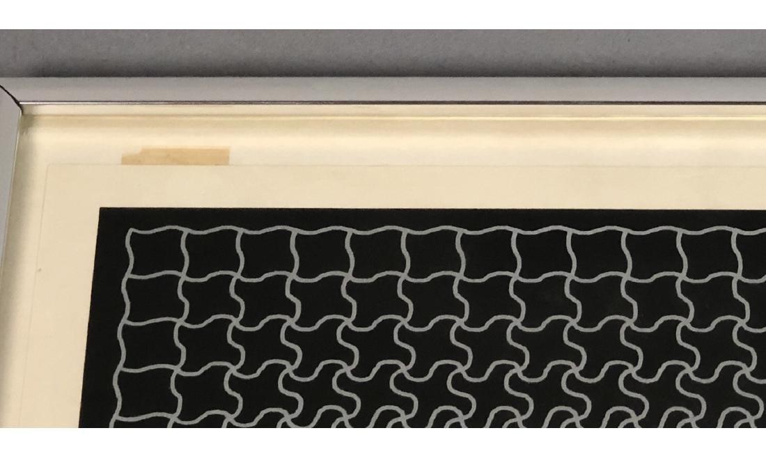 RAY Modernist Silk Screen Print. Silver linear pu - 8