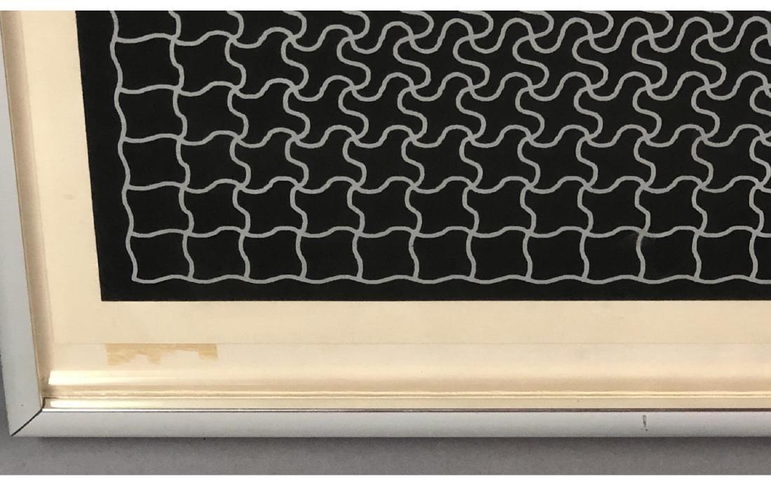 RAY Modernist Silk Screen Print. Silver linear pu - 9
