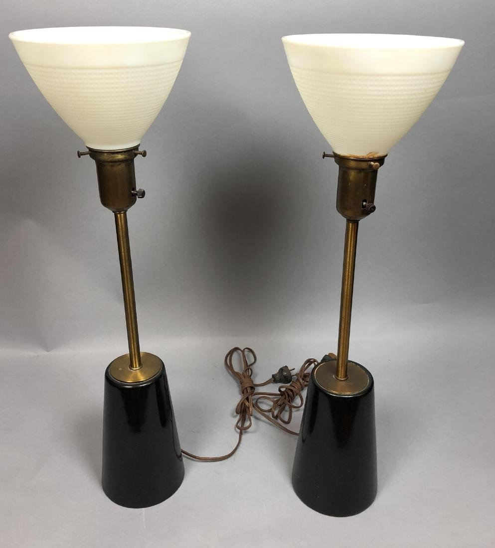 Pr Ebonized Wood Brass Table Lamps. in the style McCobb