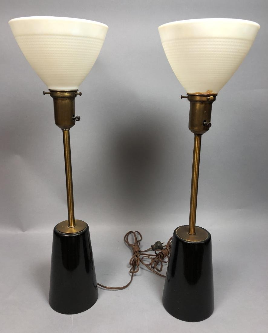 Pr Ebonized Wood Brass Table Lamps. in the style McCobb - 2