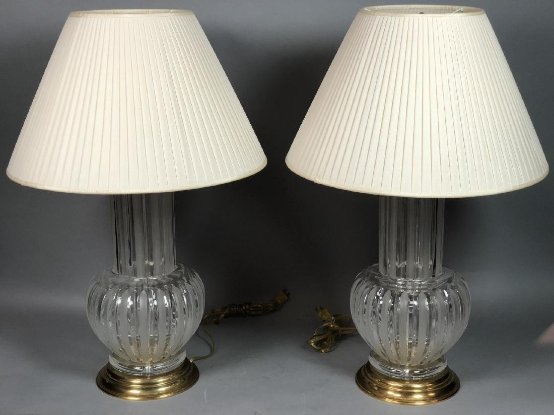 Pr Clear & Frosted Glass Italian Table Lamps. Bra