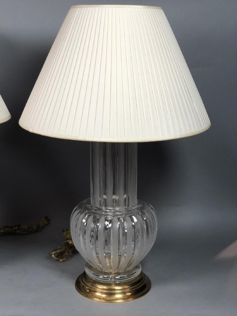 Pr Clear & Frosted Glass Italian Table Lamps. Bra - 2