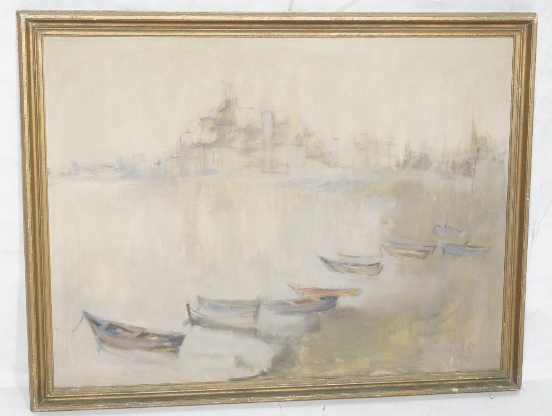 BELLON Modernist Oil on Canvas Harbor Scene w Boa