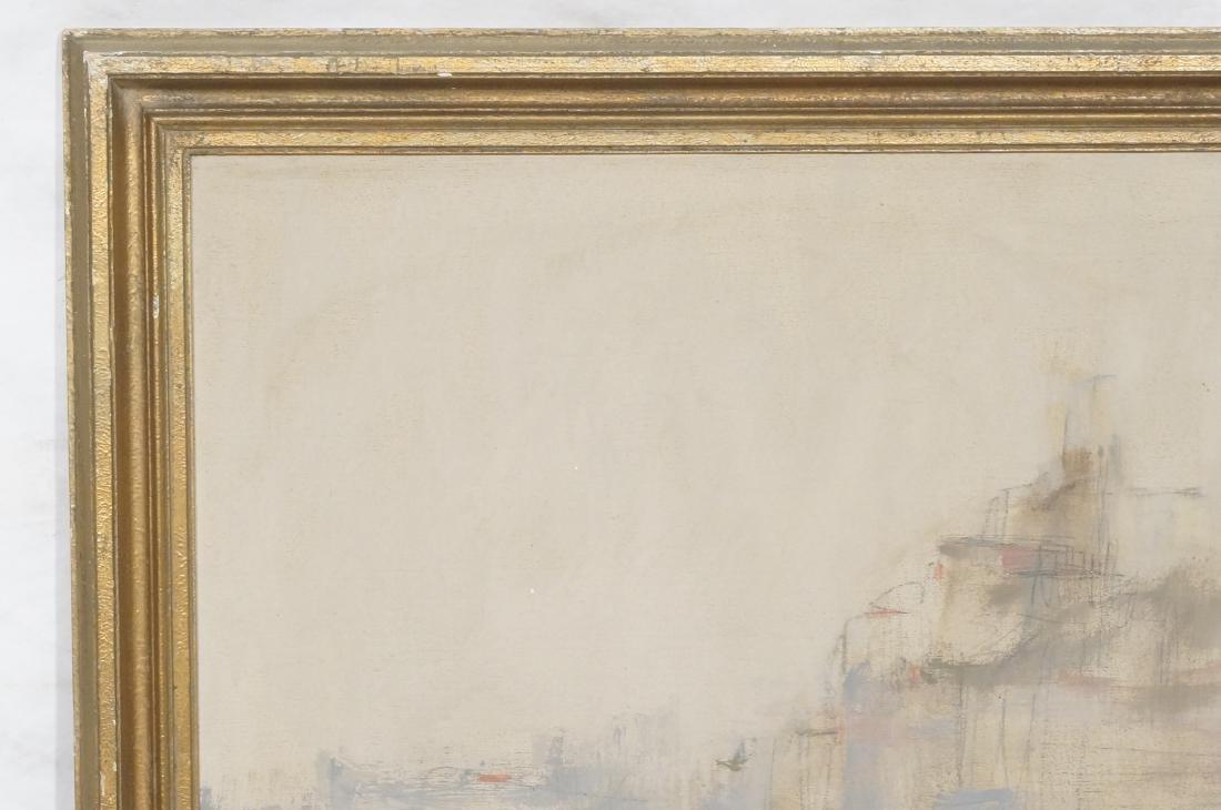 BELLON Modernist Oil on Canvas Harbor Scene w Boa - 2