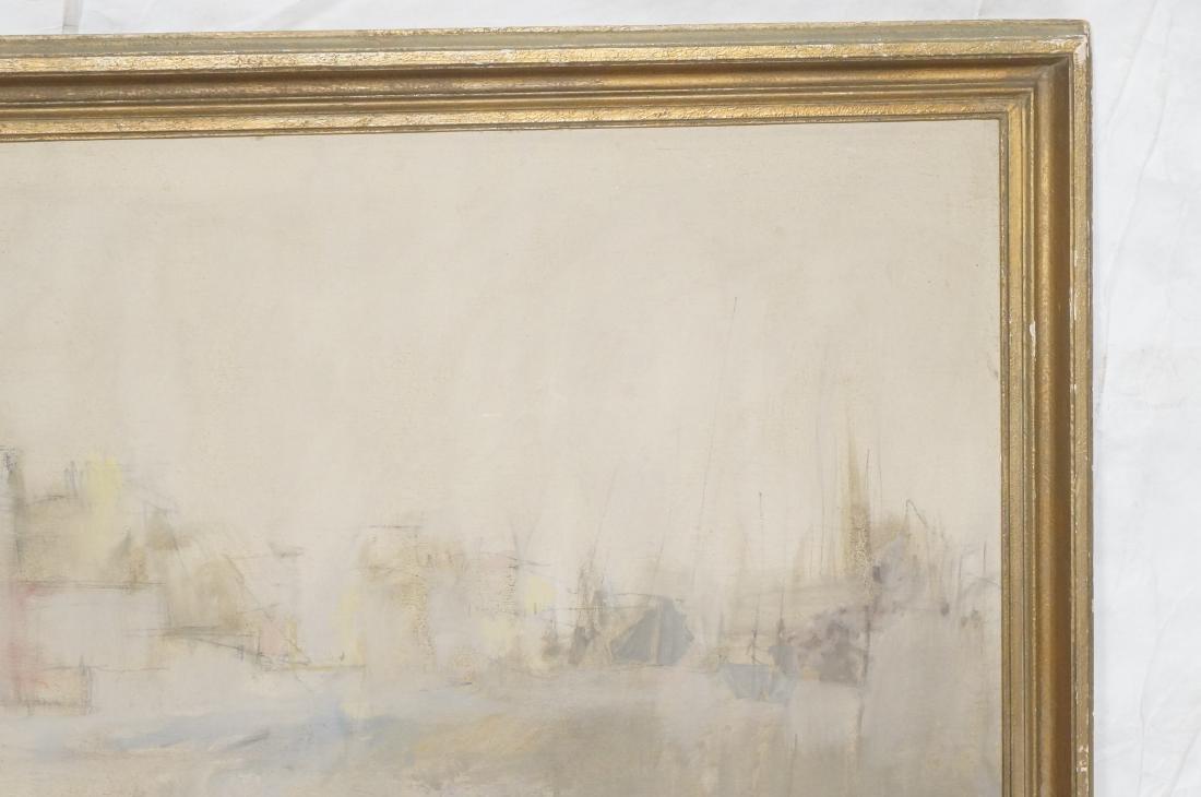 BELLON Modernist Oil on Canvas Harbor Scene w Boa - 3