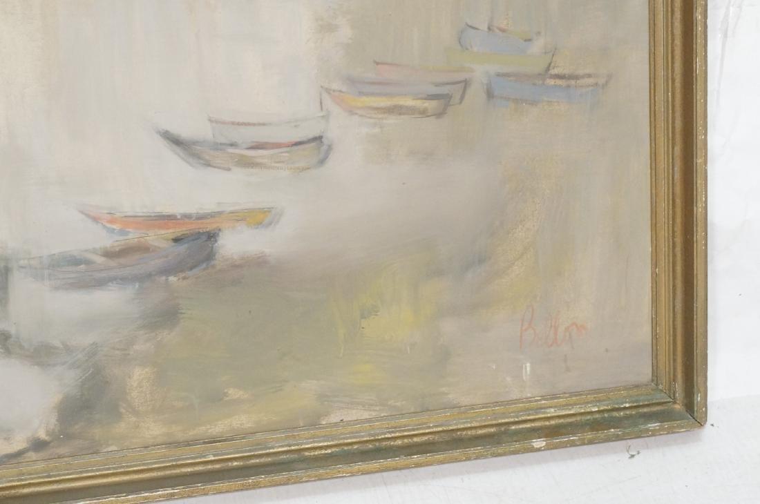 BELLON Modernist Oil on Canvas Harbor Scene w Boa - 4