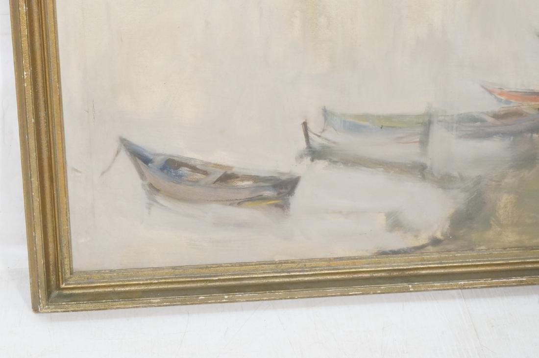 BELLON Modernist Oil on Canvas Harbor Scene w Boa - 5