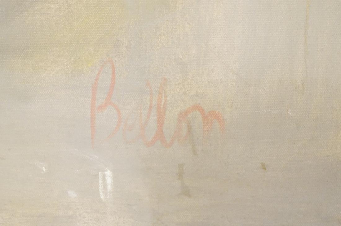 BELLON Modernist Oil on Canvas Harbor Scene w Boa - 6