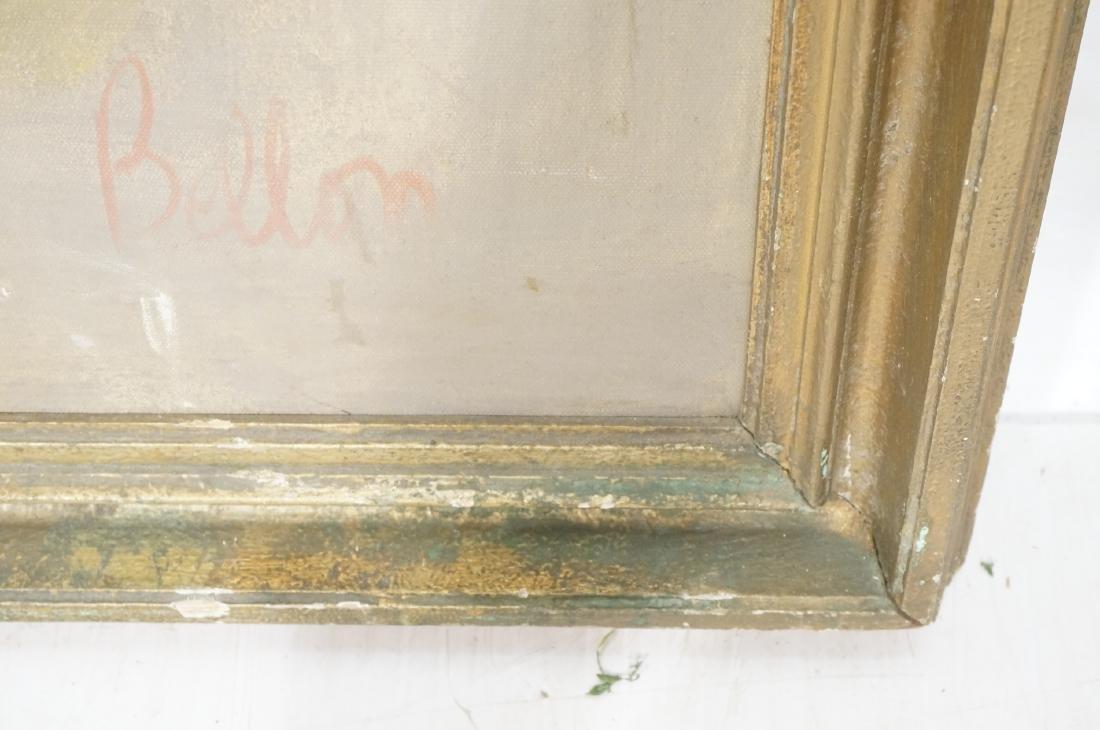 BELLON Modernist Oil on Canvas Harbor Scene w Boa - 7