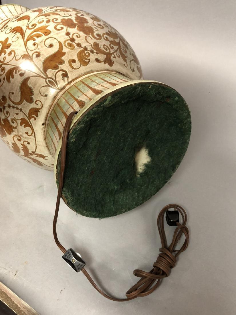 Large Italian Glazed Pottery Table Lamp. Footed u - 10