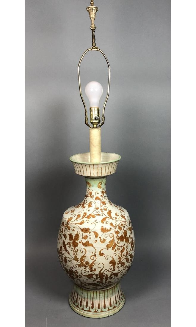 Large Italian Glazed Pottery Table Lamp. Footed u
