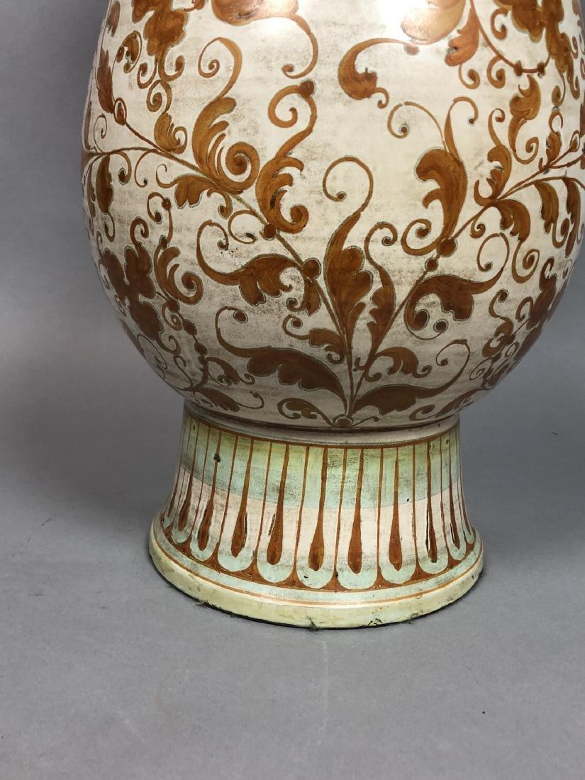 Large Italian Glazed Pottery Table Lamp. Footed u - 4
