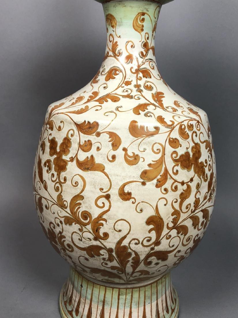 Large Italian Glazed Pottery Table Lamp. Footed u - 5
