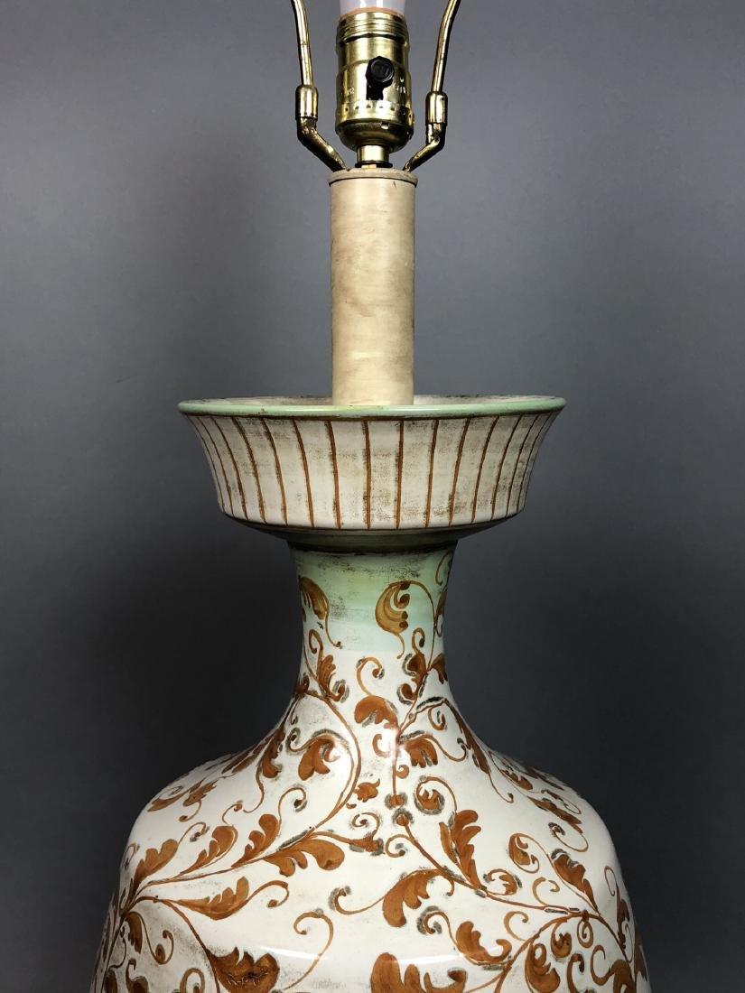 Large Italian Glazed Pottery Table Lamp. Footed u - 6